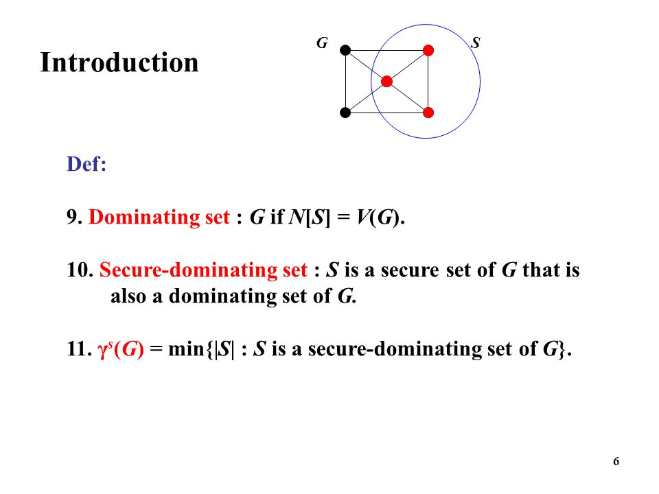 Introduction Def: 9. Dominating set : G if N[S] = V(G).
